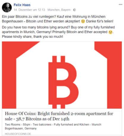 Felix Haas verkauft seine Wohnung gegen Bitcoin