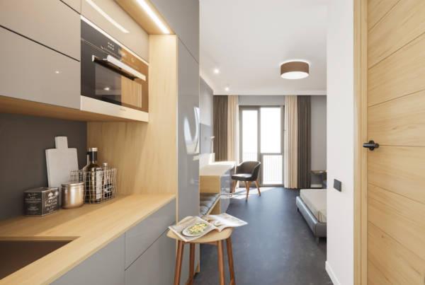 Die gehobene Ausstattung samt Küche ist ein Vorteil des Boardinghouse.